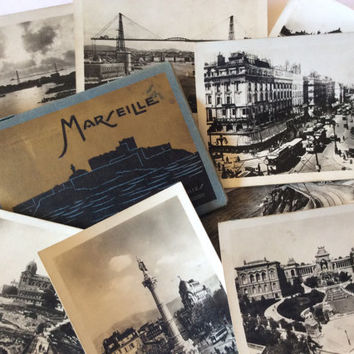 Vintage French Photographs of Marseille Black and White Photos Landmarks Tourist Paper Ephemera