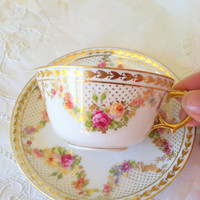 Antique G. Ahrenfeldt Limoges/France Tea Cup and Saucer - Circa 1950's