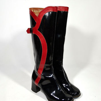 15 Percent Off Use Code TAKEMEHOME15 : 1960's Jacques Esterel Paris Tennessee Snob Patent Leather Black & Red Go Go Boots