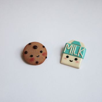 Milk and Cookie friends brooch, Unique Christmas gift idea for BFF