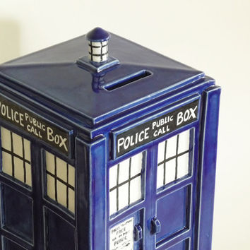 TARDIS Bank Made to Order Handmade Ceramic Coin by jadeflower