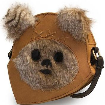 """Star Wars Ewok Face"" Crossbody Bag by Loungefly (Tan)"