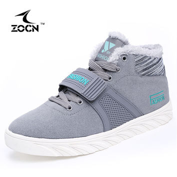 ZOCN Unisex With Fur Student Casual Shoes Men Flats Walking Shoes High Quality Fashion 2016 Breathable Flats Ladies Shoes 36-44