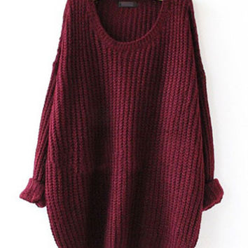Roll Sleeve Knitted Sweater