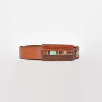 Vintage 70s Wood Buckle BELT / 1970s Wooden Buckle with Turquoise Inlay Brown Leather Belt