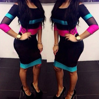 Color Block Long Sleeve Bodycon Midi Dress