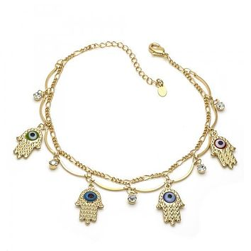 Gold Layered Charm Anklet , Greek Eye and Hand Design, with Cubic Zirconia, Gold Tone