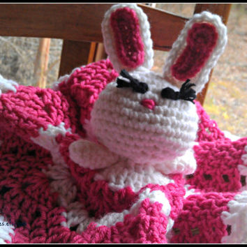 Lucy Rabbit Lovey, Baby Lovey, bunny lovey, bunny blanket, crochet baby toys, crochet toddler toy, crochet baby blanket, animal lovey