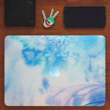 macbook decal rubberized front hard cover for apple mac macbook air pro 11 12 13 15 blue forest abstract painting