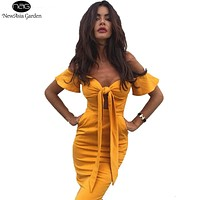 NewAsia Garden Off Shoulder Flare Sleeve Bow Tie Front Bustier Bodycon Dress Strapless Pencil Women Midi Dresses Yellow New 2017
