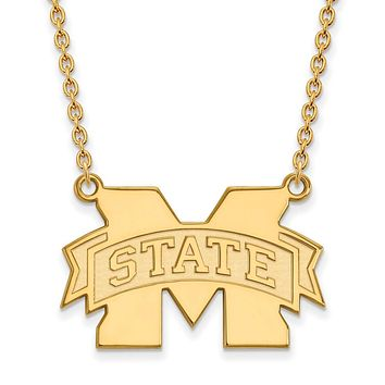 NCAA 14k Gold Plated Silver Mississippi State M State Pendant Necklace