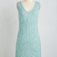 Vintage Inspired Mid-length Sleeveless Shift Bead It Dress in Seaglass