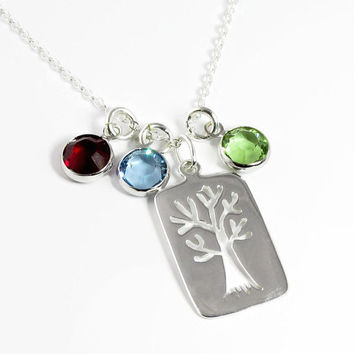 Mothers Birthstone Necklace - Family Tree with Birthstones - Sterling Silver Tree of Life Swarovski - Gift for Grandma Nana Oma Mimi Mom