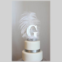 Initial or Letter G Gatsby white and silver feather cake topper
