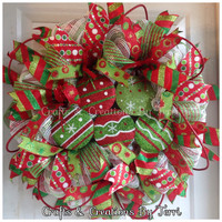 Christmas Wreath -  Ornament Wreath - Holiday Wreath - Christmas Decor - Whimsical Wreath - Deco Mesh Wreath - Door Decor - Ready To Go