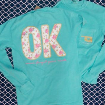 Mint Long Sleeve Floral OK-Oklahoma Shirt