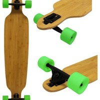 Bamboo Drop Thru Longboard 9.25x42 W/ 76mm Green Wheels & Abec 7 Bearings