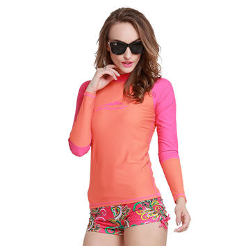 Rash Guard Long Sleeve Top with Matching Ruched Shorts