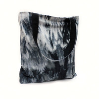 Black White Shibori Tote Bag, Market Bag, Hand Dyed Tote Bag, Shopper Tote,Cotton Canvas Bag,Large Tote Bag,Black White Tote,Canvas Book Bag