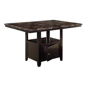 Faux Marble Top Counter Height Table With Bottom Compartment, Brown
