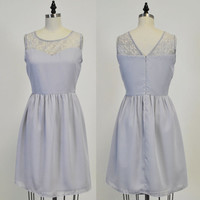 LORRAINE (Grey) : Grey chiffon dress, lace sweetheart neckline, vintage inspired, party, day, bridesmaid