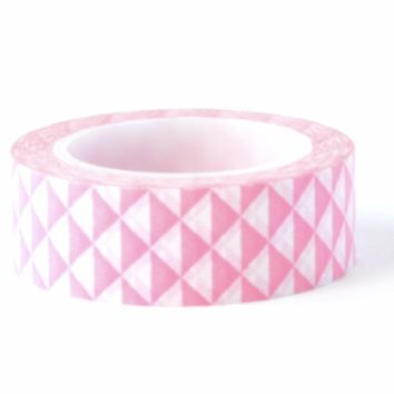Pink triangles 15mm washi tape / 10M