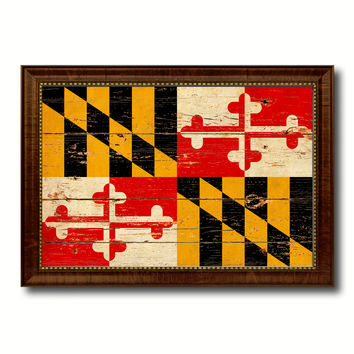 Maryland State Vintage Flag Canvas Print with Brown Picture Frame Home Decor Man Cave Wall Art Collectible Decoration Artwork Gifts