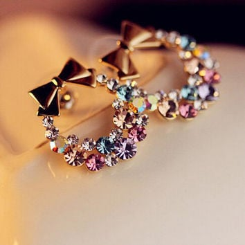 New Fashion Imitation Diamond Colorful Rhinestone Bow Earrings Vintage Jewelry