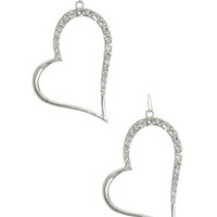 Rhinestone Heart Hoop Earrings | Shop Accessories at Wet Seal