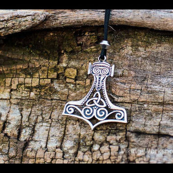 Thor's Hammer Mjolnir Pendant Viking Amulet Sterling Silver Necklace Scandinavian Pendant Norse Jewelry (Stylization)