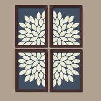 Bold Navy Blue Ivory Flourish Design Artwork Set of 4 Prints Dahlia Bloom Flowers Bedroom WALL Decor Floral ART Pictures