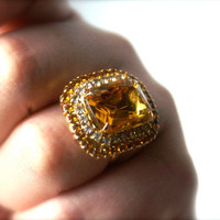 Vintage Topaz Colored Rhinestone Cocktail Ring by RinnovatoVintage