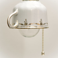 Tea Cup Lamp, Hanging Lamp, Upcycled Lamp, Hipster Decor, Houseware, Design Lamp