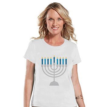 Hanukkah Shirt - Menorah Shirt - Ladies Hanukkah Menorah White T-shirt - Happy Hanukkah Outfit - Hanukkah Gift Idea - Family Holiday Shirts