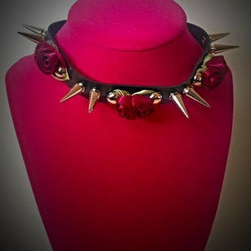 Vegan Leather Dark Red Roses & Spikes Black Choker Necklace