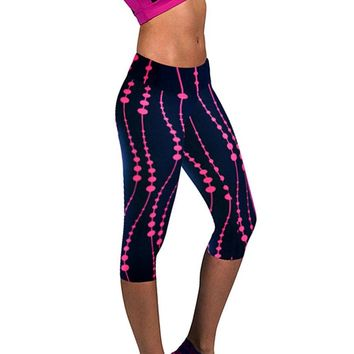 Women 3D Print Plus Size Capris Leggings Sport Fitness Pants Outdoor Training Gym Clothes