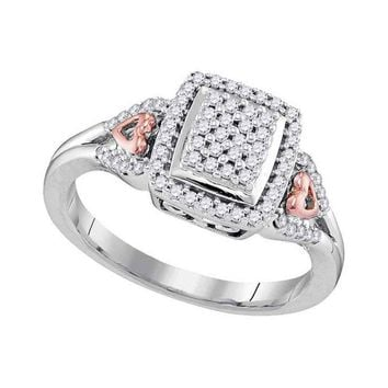 10kt Two-tone Gold Womens Round Diamond Square Cluster Heart-accent Ring 1/3 Cttw