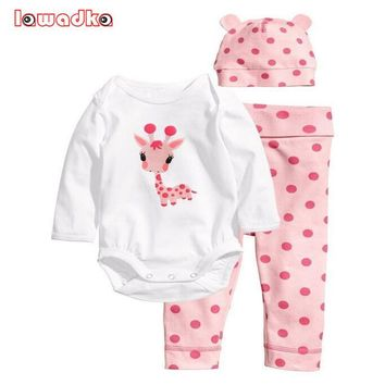 Spring Style Baby Rompers  Long Sleeve Cotton Baby Infant Cartoon Animal Newborn Baby Clothes (romper+hat+pants)  Clothing Set