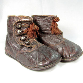 Antique LEATHER BABY SHOES Brown 4 Shoe Button Victorian Edwardian