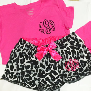 Youth Girls Monogrammed Pajama Shorts  with ruffle and top. Pajama Set  Great gifts
