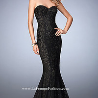 Black Lace Long La Femme Strapless Prom Dress