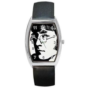 "The Beatles "" John Lennon "" in Black and White Barrel Watch with Leather Band"