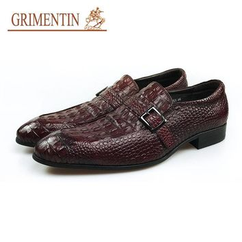 GRIMENTIN Luxury Buckle Shoes Men Italian Classic Genuine Leather Slip On Formal Business Shoes
