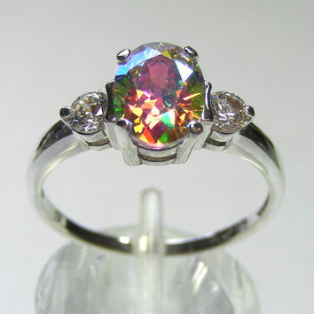 Unique Womens Ring Lunar Lavender Mystic Fire Ring 2ct Modern Design Accented Sterling Silver Ring Custom Sized 5-12 ,