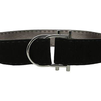 Michael Kors 50mm Suede Leather Belt with Hand Stitch on Double D-Ring Buckle with Pull Back Closure