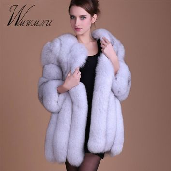 WMWMNU Women Faux Fox Fur Coat Stand Collar Furry Woman Fake Fur Jacket Fur Coat Winter Fashion Luxury Long Fur Coat Jacket