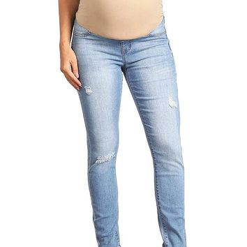 Scuffed Maternity Skinny Jeans