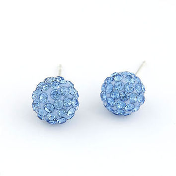 Sweet Style Blue Ball-shaped Earring Setting with Diamond, Fashion Jewelry, Ladyp-wearing Jewelry, Party Jewelry, Birthday Gifts 110602101