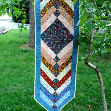 "Quilted French Braid Table Runner / Topper / Bed Runner - Shades of Blue, Yellow, Orange - 15-1/2"" wide x 62"" long"