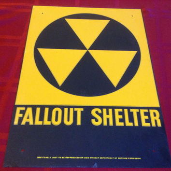 "VINTAGE 1960's ORIGINAL FALLOUT Shelter Sign Galvanized Steel 10x14"" in great condition"